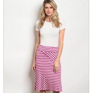 Dresses & Skirts - Fushia & White Striped Skirt